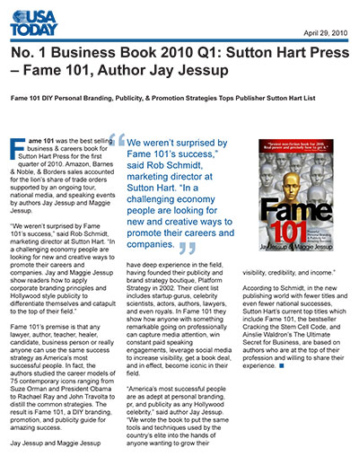 No. 1 Business Book 2010 Q1: Sutton Hart Press – Fame 101, Author Jay Jessup