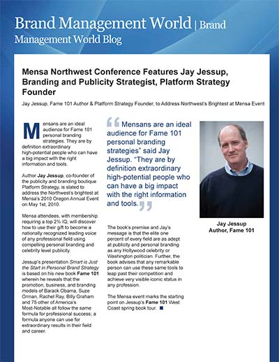 Mensa Northwest Conference Features Jay Jessup, Branding and Publicity Strategist, Platform Strategy Founder