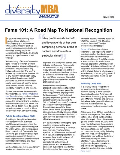 Fame 101: A Road Map to National Recognition