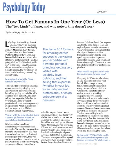 How to Get Famous In One Year (Or Less)
