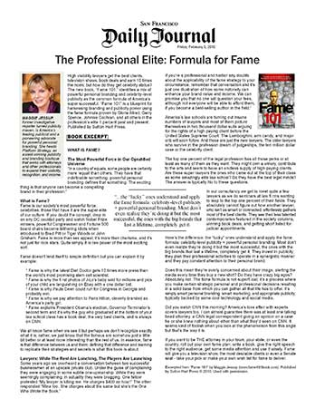 The Professional Elite: Formula for Fame